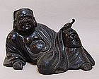 Unusual 19th C. Japanese Bronze Smoking Daruma Koro