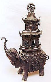 Massive 19th c. Japanese 3 pc. Bronze Elephant Koro
