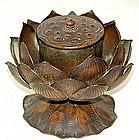 EXQUISITE Antique Japanese BRONZE KORO, LOTUS