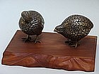 Set of Fine Taisho Hakudo White-Bronze Quails in Box