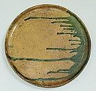 Antique Japanese Edo p. Mingei Oribe Oil Dish