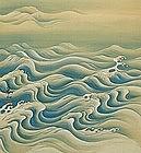 Taisho Japanese Rising Sun and Waves Scroll, Kanzan