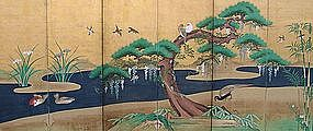 Antique Japanese Gold Wisteria Screen