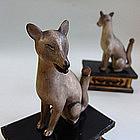 Edo p. Japanese Shinto Shrine Fox Pair, Kitsune