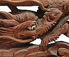 Antique Japanese Buddhist Transom Carving, Dragons