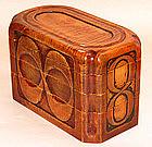 JapaneseCarved Wood Stacking Bento Box by Iwamoto Yasuo