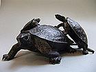 Antique Japanese Bronze Okimono Turtle Group