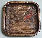 Antique Japanese Carved Mingei Tray with Bat, Kinkoku