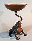 Antique Japanese Bronze Frog Flower Basin