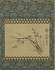 Iris on silk Edo p. Japanese Scroll by Tsubaki Chinzan