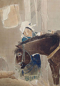 Meiji p Nihonga Screen, Horse and Peasant Girl by Hosen