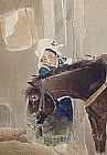 Meiji p Nihonga Screen, Horse and Peasant Girl by Hosen