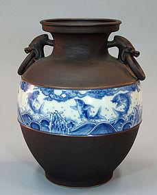 Unusual Jet Iron Glazed Porcelain Vase by Makuzu Kozan