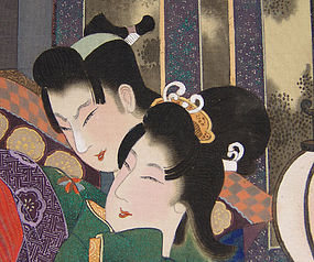 Antique Japanese Erotic Screen Painting, Shunga