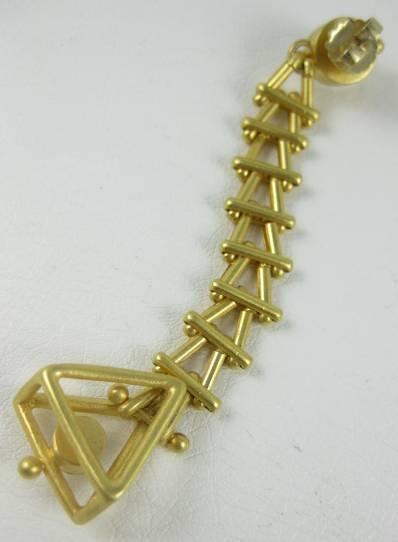 Unusual Andrew Spingarn Modernist Gilt Brass Earrings