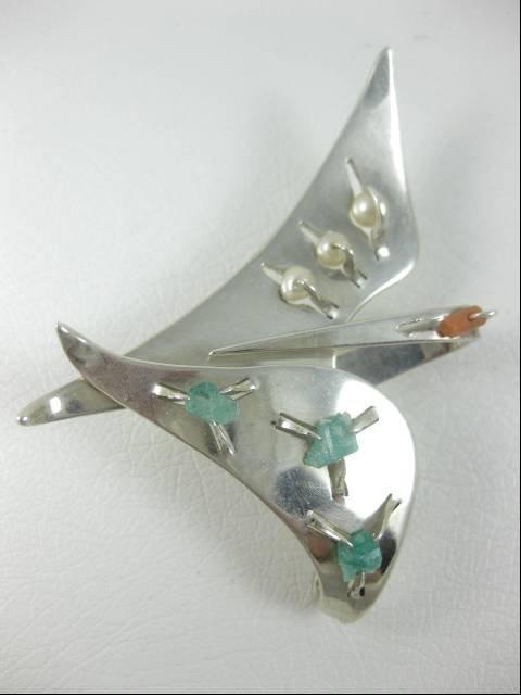 Unusual Chato Castillo Modernist Bird Pin & Earrings