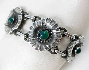 Beautiful Georg Jensen Sterling Chrysoprase Bracelet