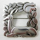 Lovely Georg Jensen Stag & Squirrel Pin 318