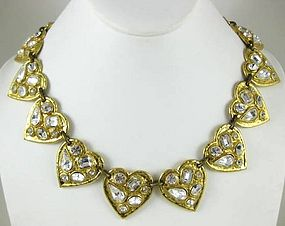 Bold Yves Saint Laurent Rhinestone Heart Necklace