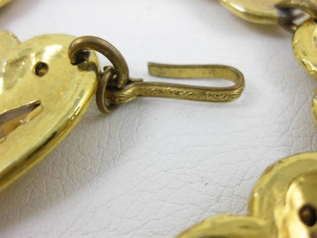 Bold Yves Saint Laurent Rhinestone Heart Necklace
