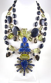 Magnificent Iradj Moini Lapis Buddha Bib Necklace