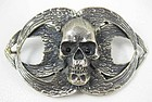 Rocker Chic Barbosa Skull & Angel Wing Belt Buckle