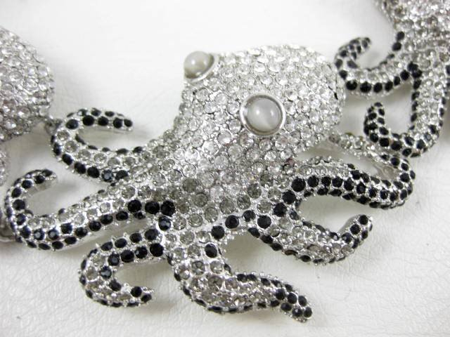 Whimsical Carlo Zini Italian Runway Octopus Necklace
