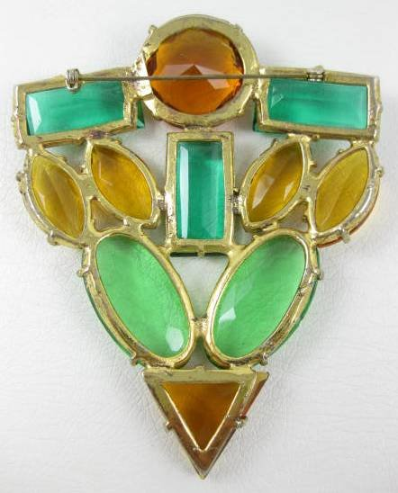 Large Art Deco Green and Topaz Rhinestone Pin