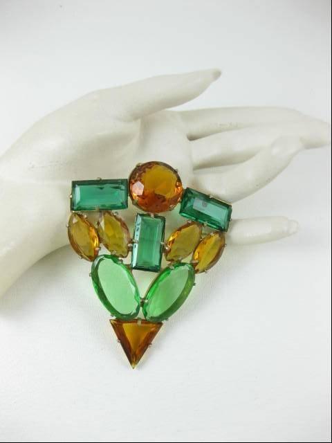 Large Art Deco Green and Topaz Rhinestone Pin