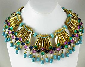 Spectacular William Delillo Jeweled Bib Necklace