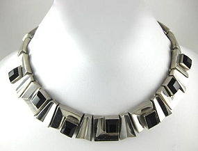 Fantastic Antonio Pineda Design Sterling Onyx Necklace