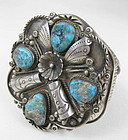 Amazing Sterling Turquoise Navajo Cuff Bracelet