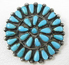 Lovely Zuni Sterling Turquoise Cluster Pin