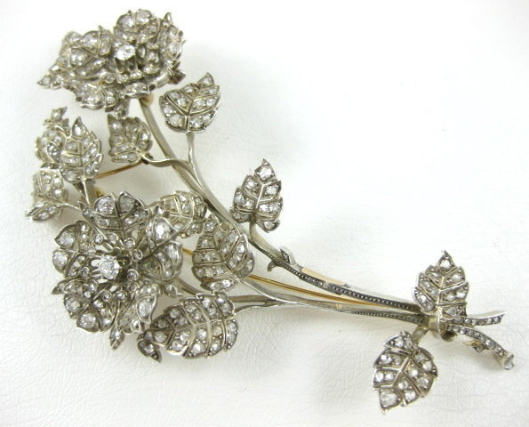 Outstanding Sterling 14K Diamond Tremblant Flower Pin