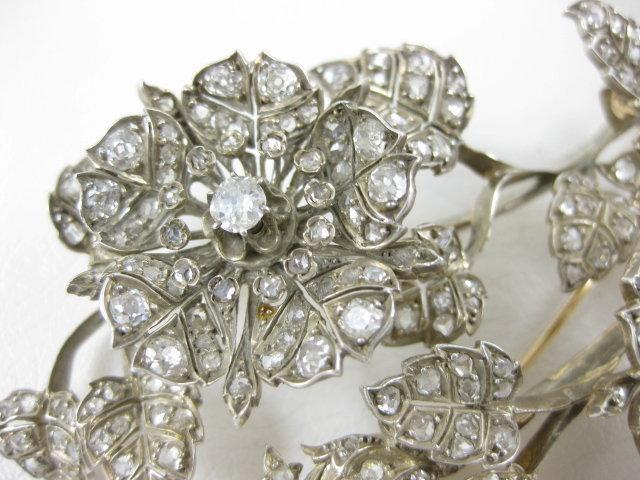 Outstanding Sterling 14K Diamond Tremblant Flower Pin