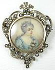 Delicate Antique Sterling & Pearl Ivory Painting Pin