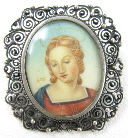 Lovely Raphael Madonna 800 Silver Ivory Portrait Pin