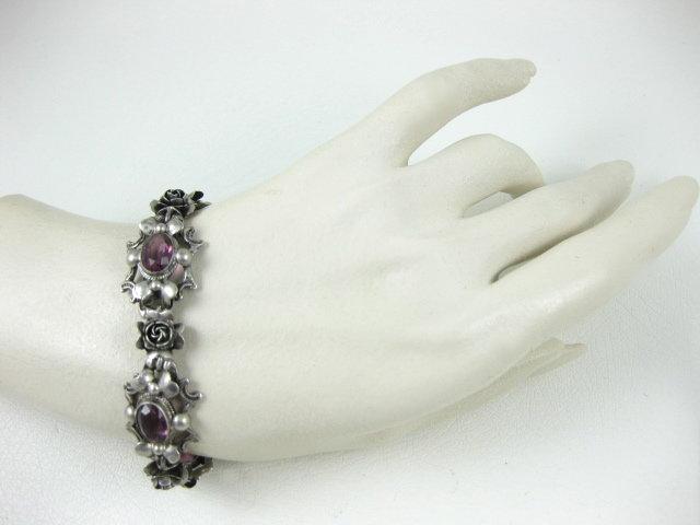 Lovely Peruzzi 800 Silver & Amethyst Bracelet