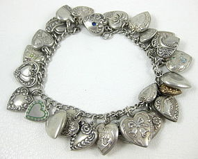 Vintage Sterling Silver 26 Charm Puffy Heart Bracelet
