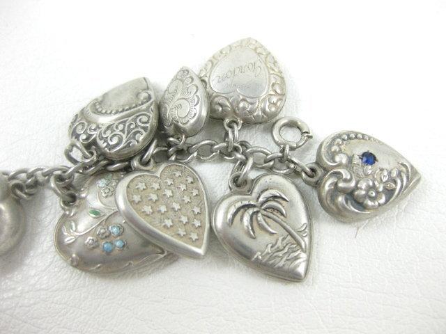 Vintage Sterling Silver 26 Charm Puffy Heart Bracelet