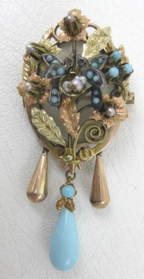 Mexican Colonial 14K Turquoise Bird Locket Pin