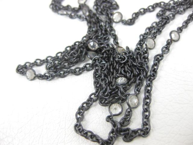 "Antique Gunmetal & 14K Lorgnette on 60"" Chain"