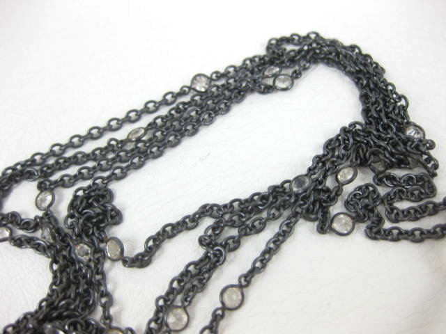 "Antique Gunmetal & 14K Lorgnette on 60"" Chain"