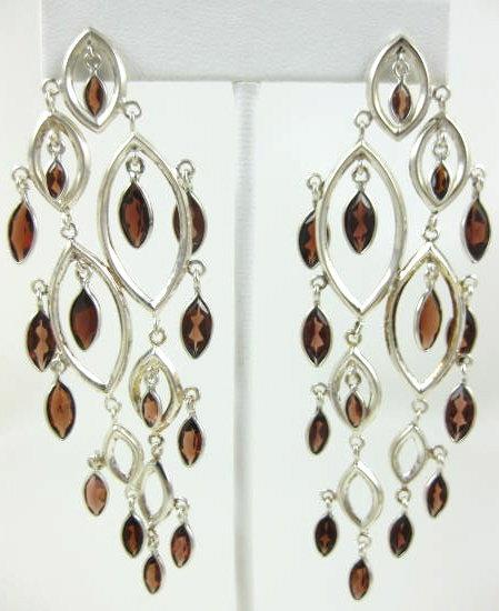 Stunning Sterling & Garnet Chandelier Earrings