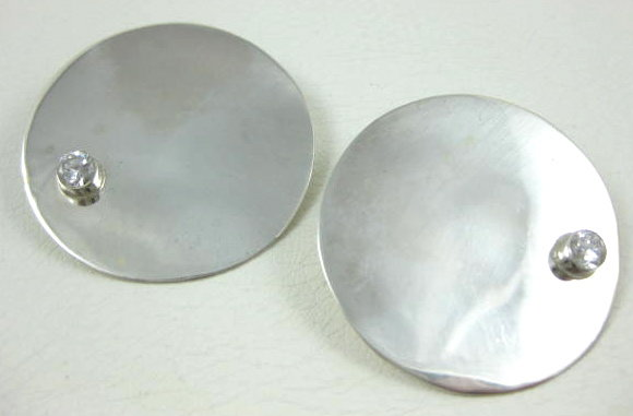 Sleek Alicia Mexican Silver Moderne Earrings
