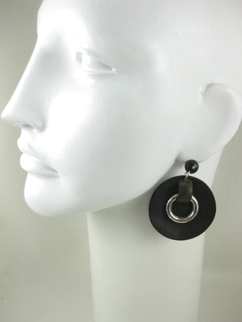 Dramatic Rosewood and Sterling Disk Earrings