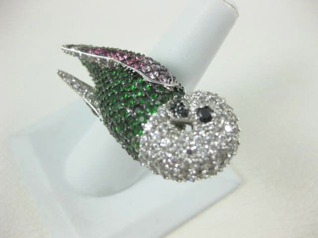 "Whimsical ""Noir"" Crystal Parrot Statement Ring"