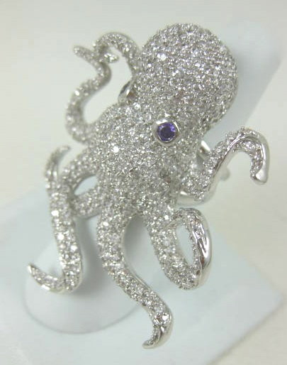 "Amazing ""Noir"" Pave Crystal Octopus Statement Ring"