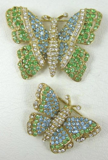 Beautiful Ciner Peridot & Aqua Butterfly Pins