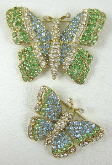 Beautiful Ciner Peridot & Aqua Butterfly Pins